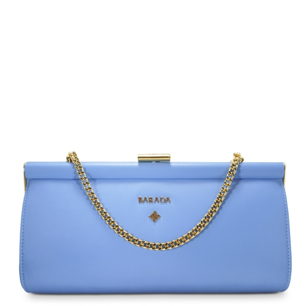Clutch Handbag from our Amatista collection in Nappa and Blue color