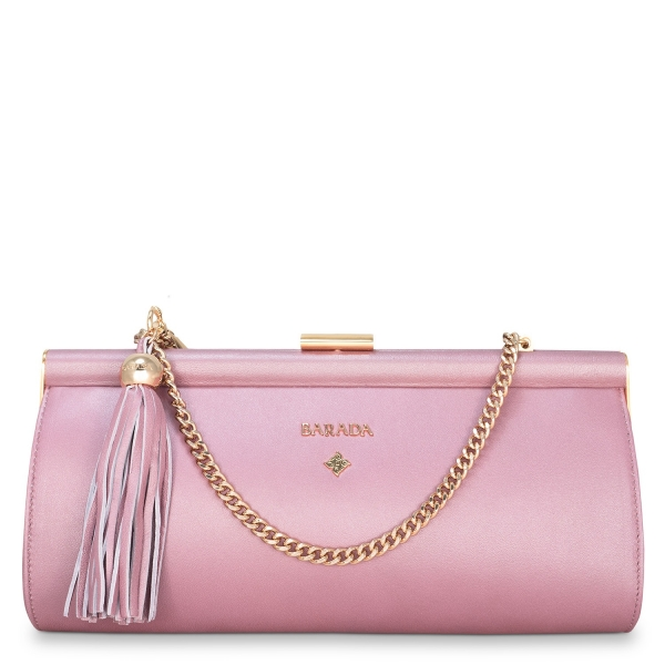 Clutch Handbag from our Amatista collection in Nappa and Pink color