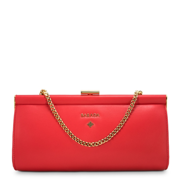 Clutch Handbag from our Amatista collection in Nappa and Red color