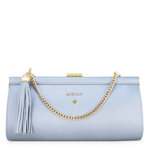 Clutch Handbag from our Amatista collection in Nappa and Cyan color