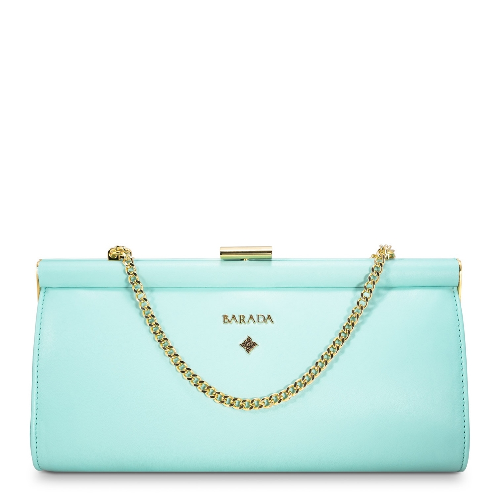 Clutch Handbag from our Amatista collection in Nappa and Aqua color