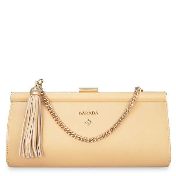 Clutch Handbag from our Amatista collection in Nappa and Golden color
