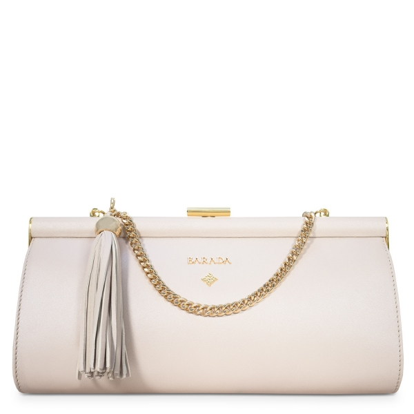 Clutch Handbag from our Amatista collection in Nappa and Natural Silver color