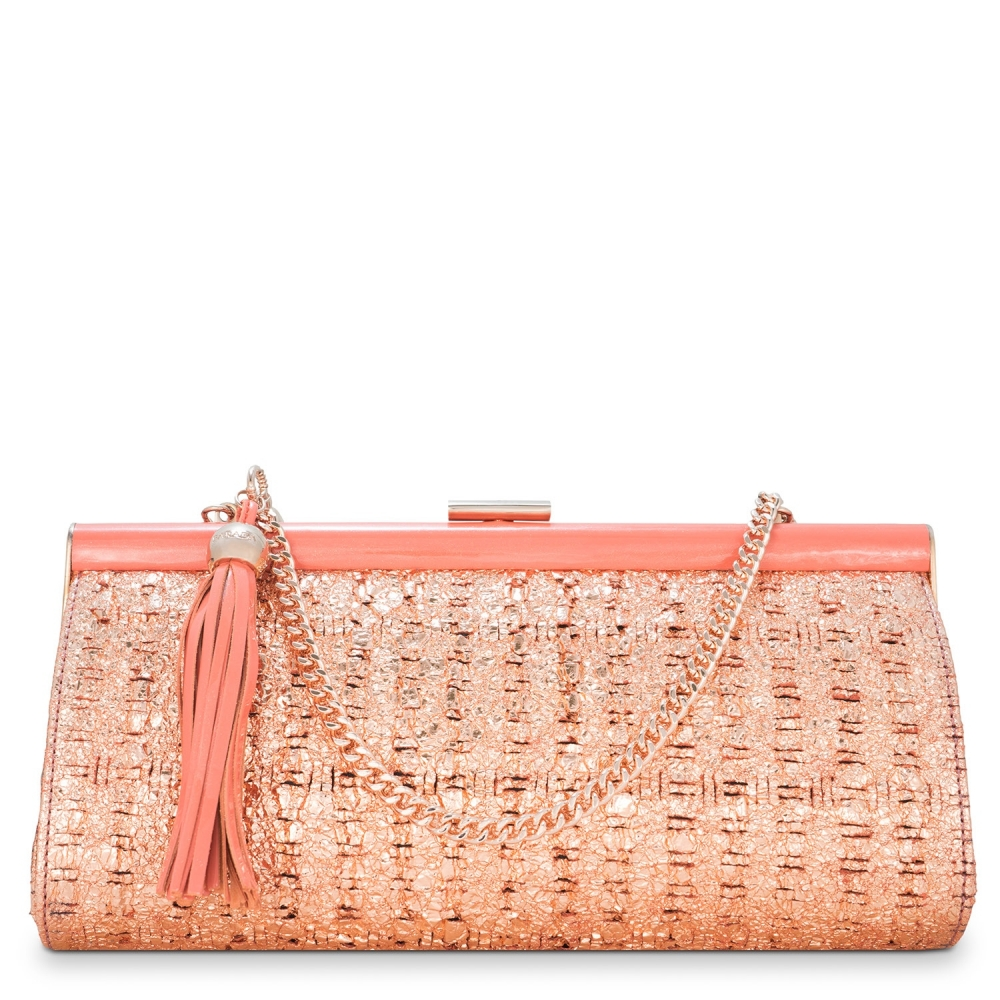 Clutch Handbag from our Amatista collection in Lamb Skin (fantasy engraved) and Cooper color