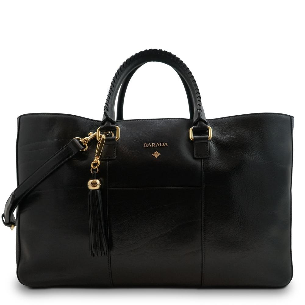 Bolso Tote/Shopping de la colección Moira en Curtición Vegetal y color Negro