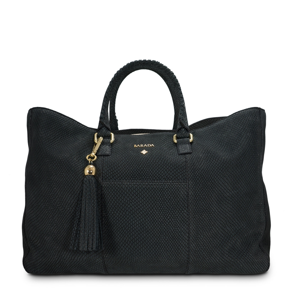 Shopping Handbag from our Moira collection in Nubuck fisnished Calf Leather and Black color