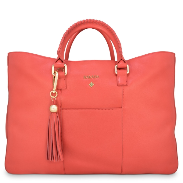 Shopping Handbag from our Moira collection in Calf Leather (Antelope finish) and Red color