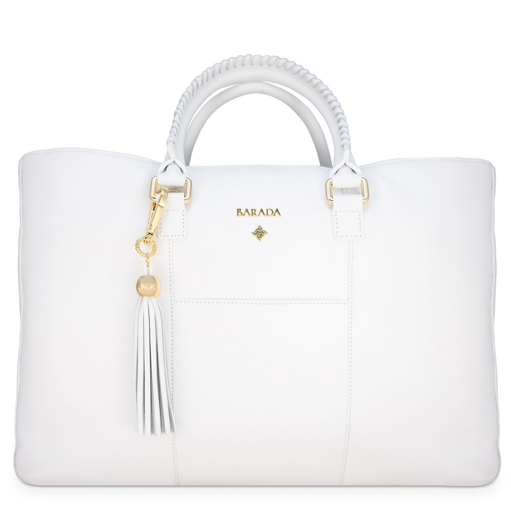 Shopping Handbag from our Moira collection in Calf Leather (Antelope finish) and White color