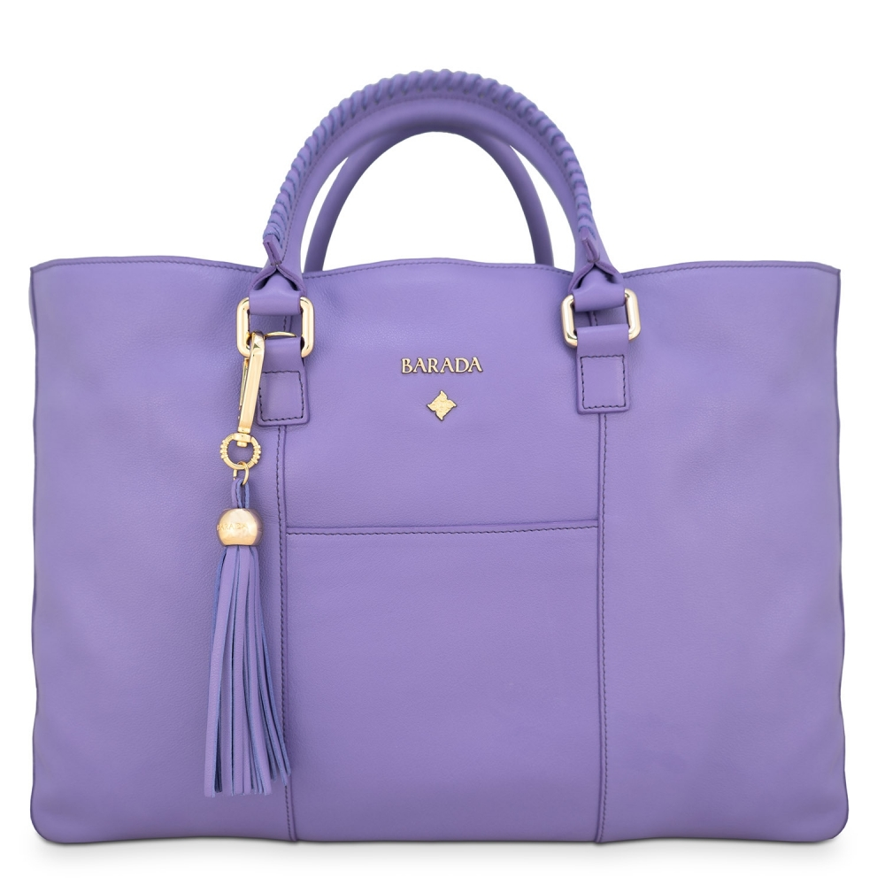 Shopping Handbag from our Moira collection in Calf Leather (Antelope finish) and Lilac color