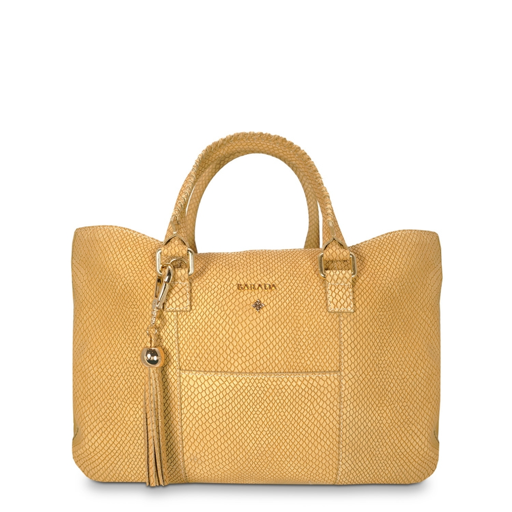 Shopping Handbag from our Moira collection in Nubuck fisnished Calf Leather and Tan color