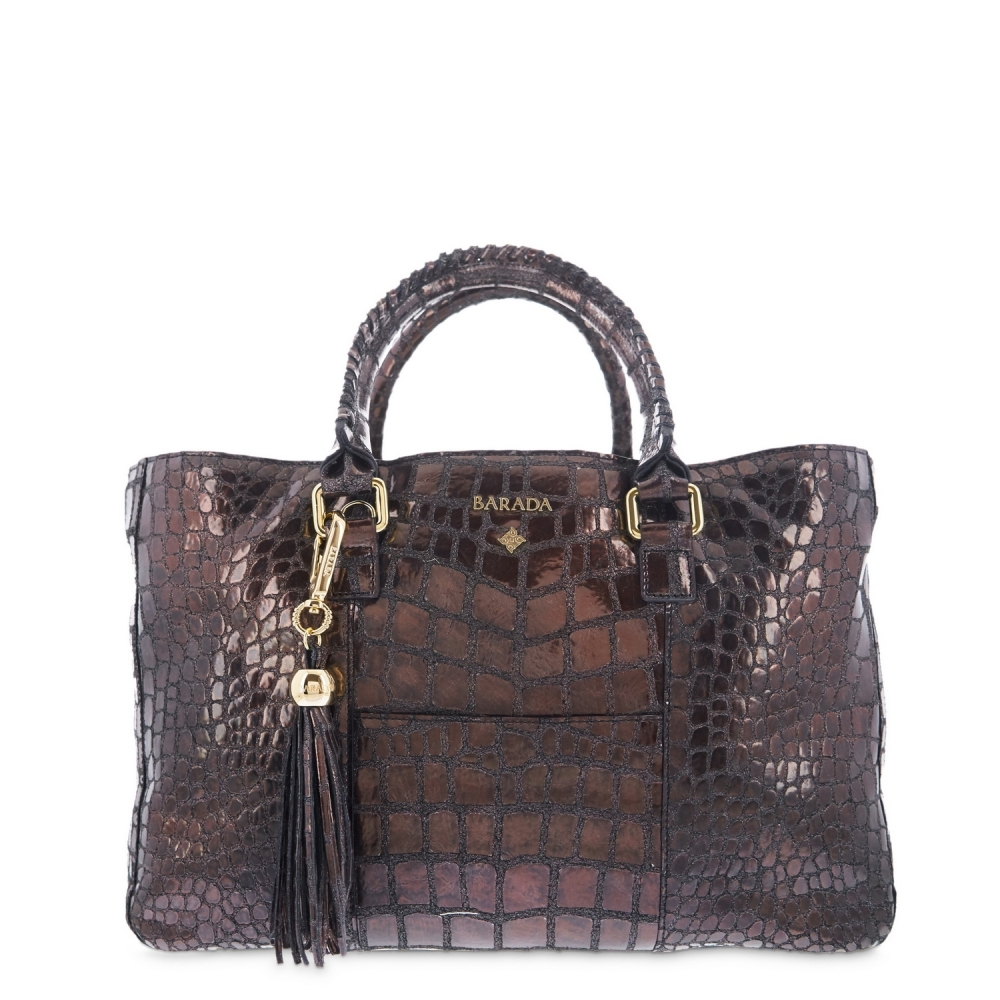 Shopping Handbag from our Moira collection in Calf Croc print metallic finishing and Cooper color