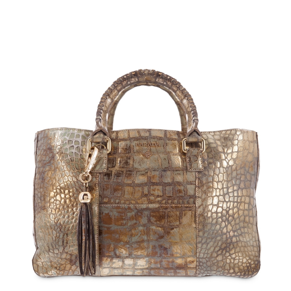 Shopping Handbag from our Moira collection in Calf Croc print metallic finishing and Golden color