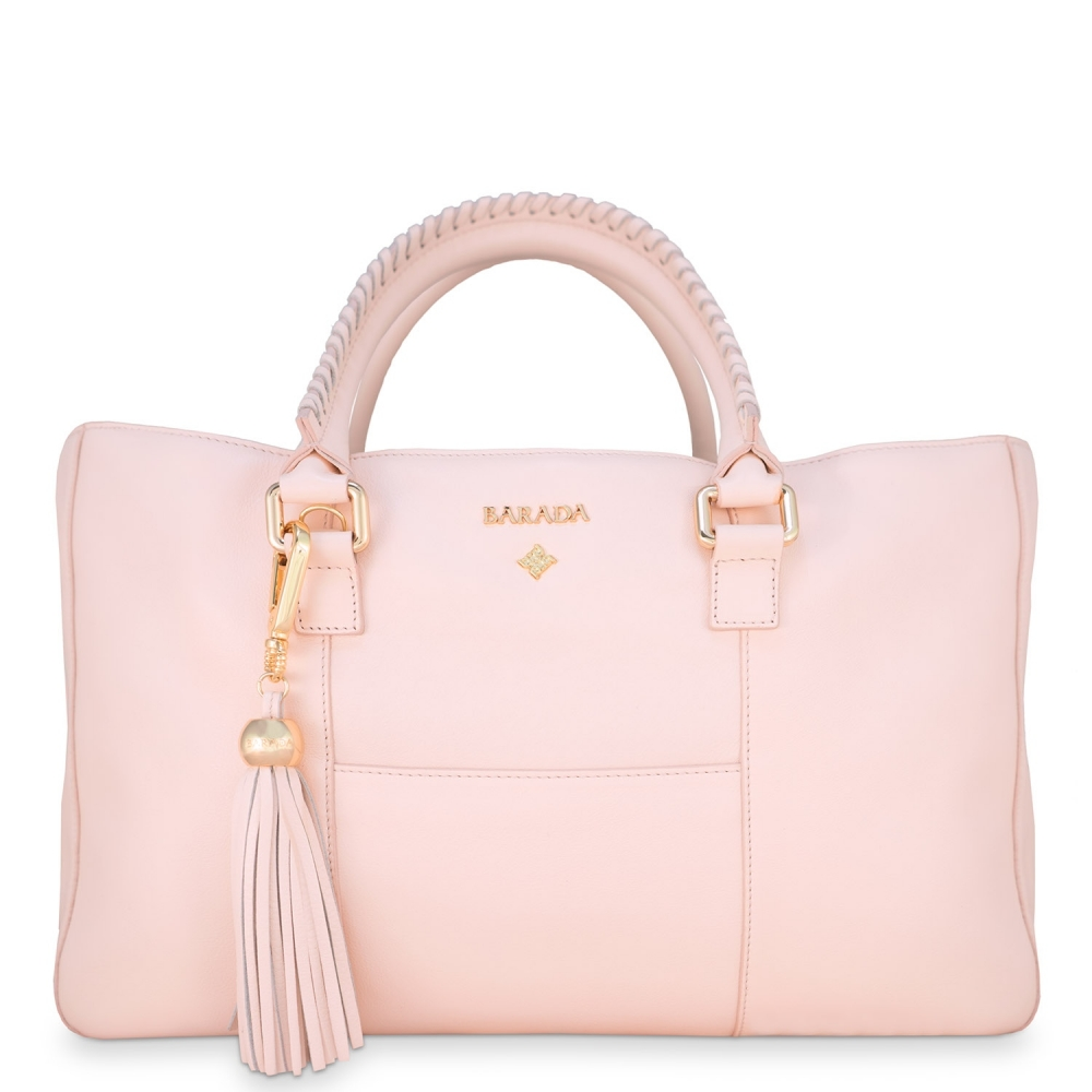 Shopping Handbag from our Moira collection in Calf Leather (Antelope finish) and Pink color