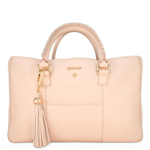 Shopping Handbag from our Moira collection in Calf Leather (Antelope finish) and Beige color