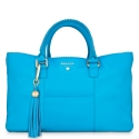 Shopping Handbag from our Moira collection in Calf Leather (Antelope finish) and Cyan color