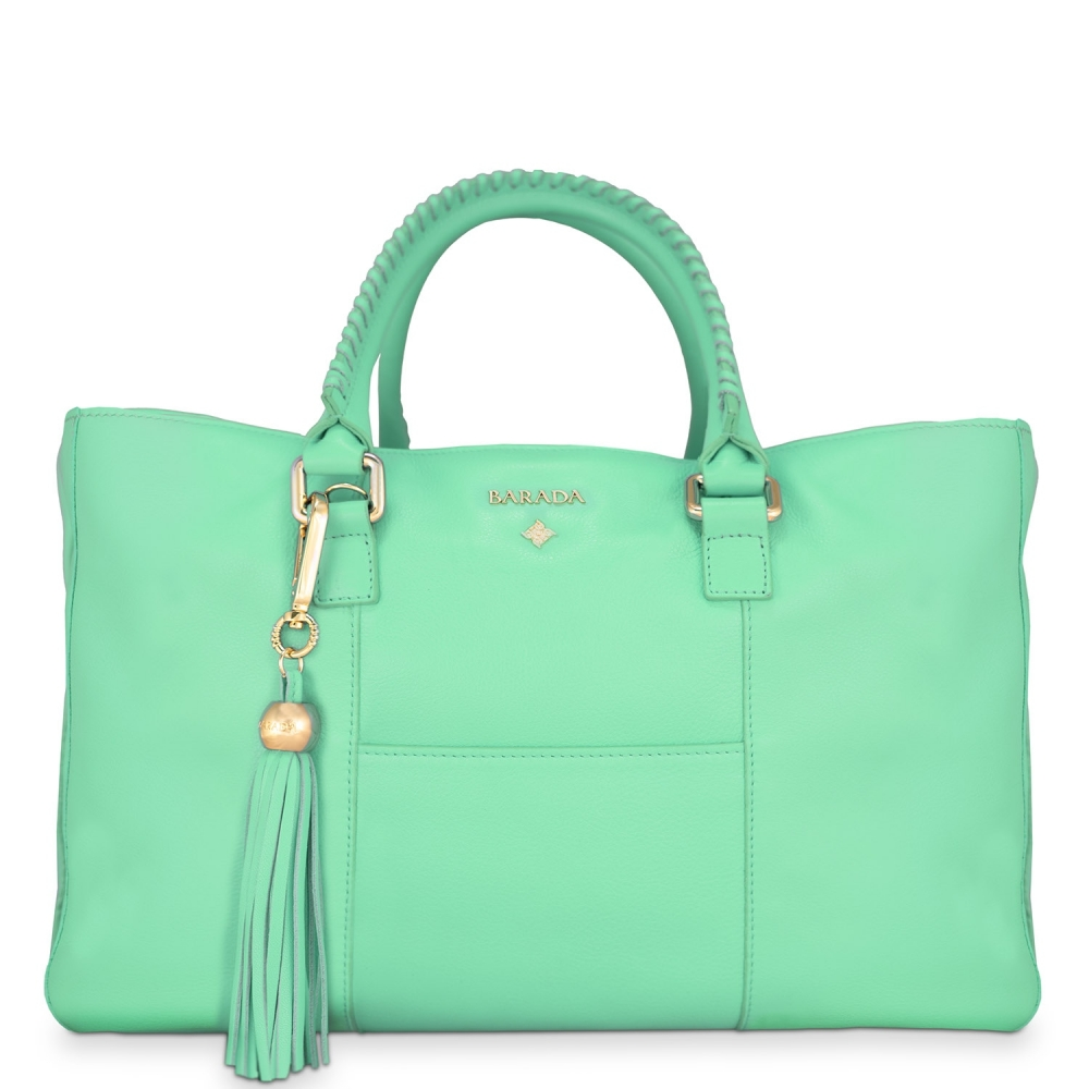 Shopping Handbag from our Moira collection in Calf Leather (Antelope finish) and Aqua color