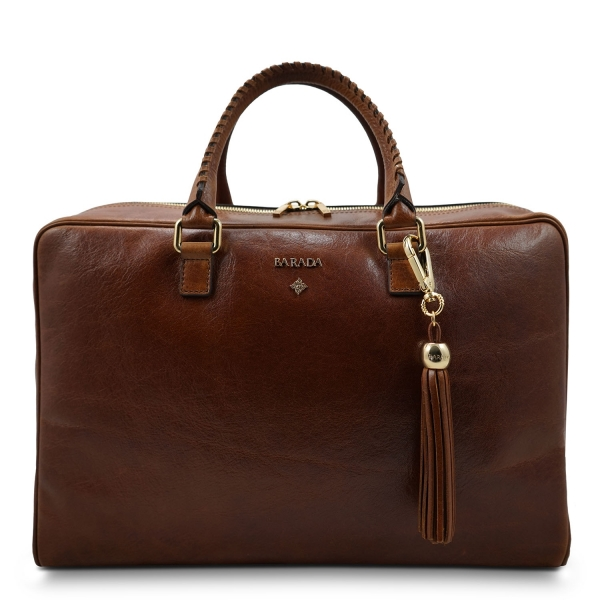 Briefcase from our Moira collection in Veg Tan and Tan color