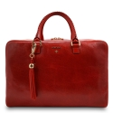 Briefcase from our Moira collection in Veg Tan and Red color