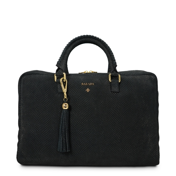 Briefcase from our Moira collection in Nubuck fisnished Calf Leather and Black color