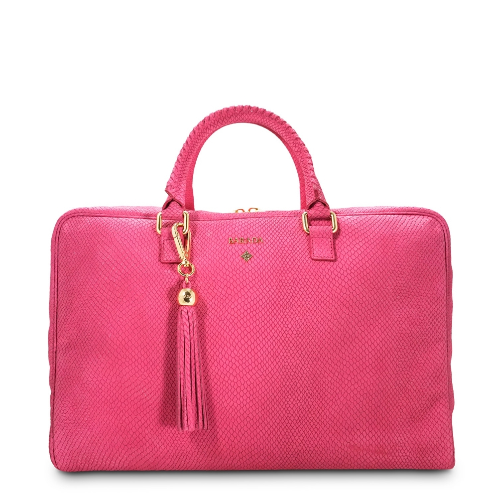 Briefcase from our Moira collection in Nubuck fisnished Calf Leather and Pink color