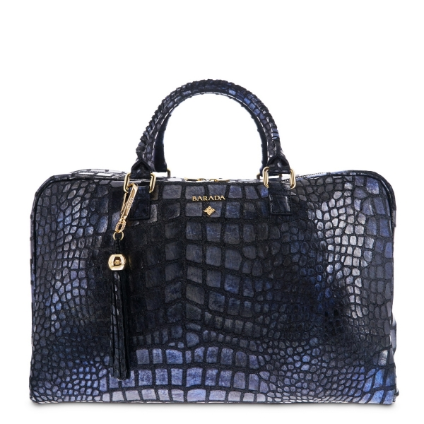 Briefcase from our Moira collection in Calf Croc print metallic finishing and Blue color
