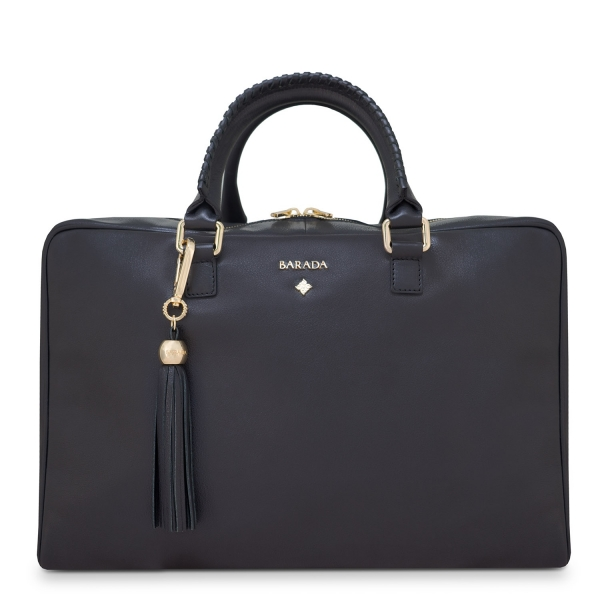 Briefcase from our Moira collection in Calf Leather (Antelope finish) and Black color