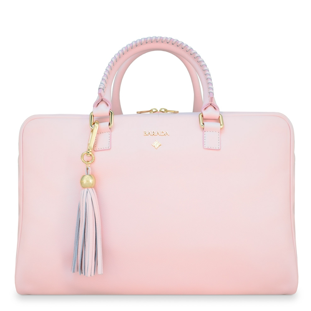 Briefcase from our Moira collection in Calf Leather (Antelope finish) and Pink color
