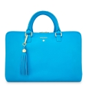 Briefcase from our Moira collection in Calf Leather (Antelope finish) and Cyan color