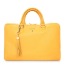 Briefcase from our Moira collection in Calf Leather (Antelope finish) and Yellow color