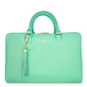 Briefcase from our Moira collection in Calf Leather (Antelope finish) and Aqua color
