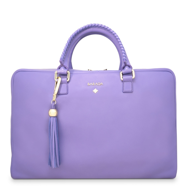 Briefcase from our Moira collection in Calf Leather (Antelope finish) and Lilac color