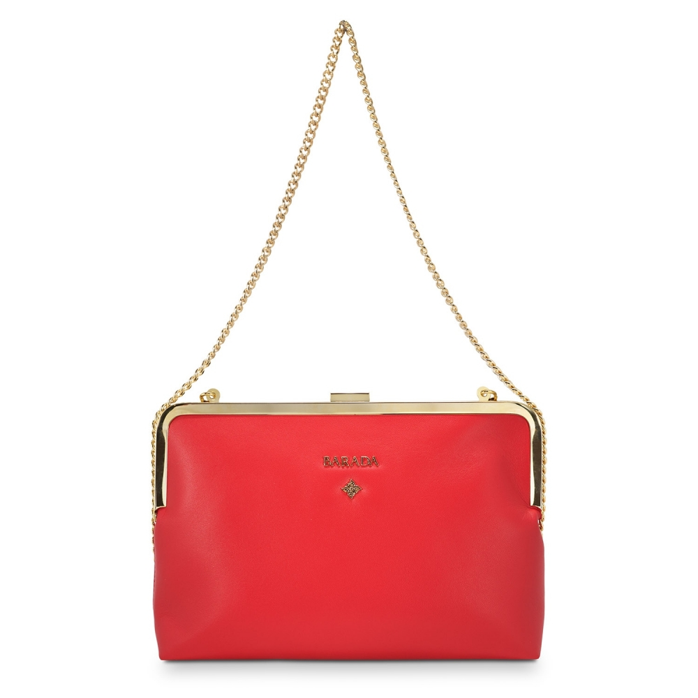 Clutch Handbag from our Dama Blanca collection in Nappa and Red color