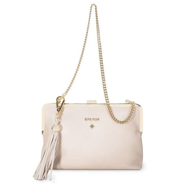 Clutch Handbag from our Dama Blanca collection in Nappa and Natural Silver color