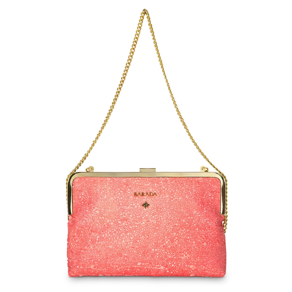 Clutch Handbag from our Dama Blanca collection in Lamb Skin and Salmon color