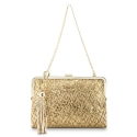 Clutch Handbag from our Dama Blanca collection in Lamb Skin (fantasy engraved) and Golden color