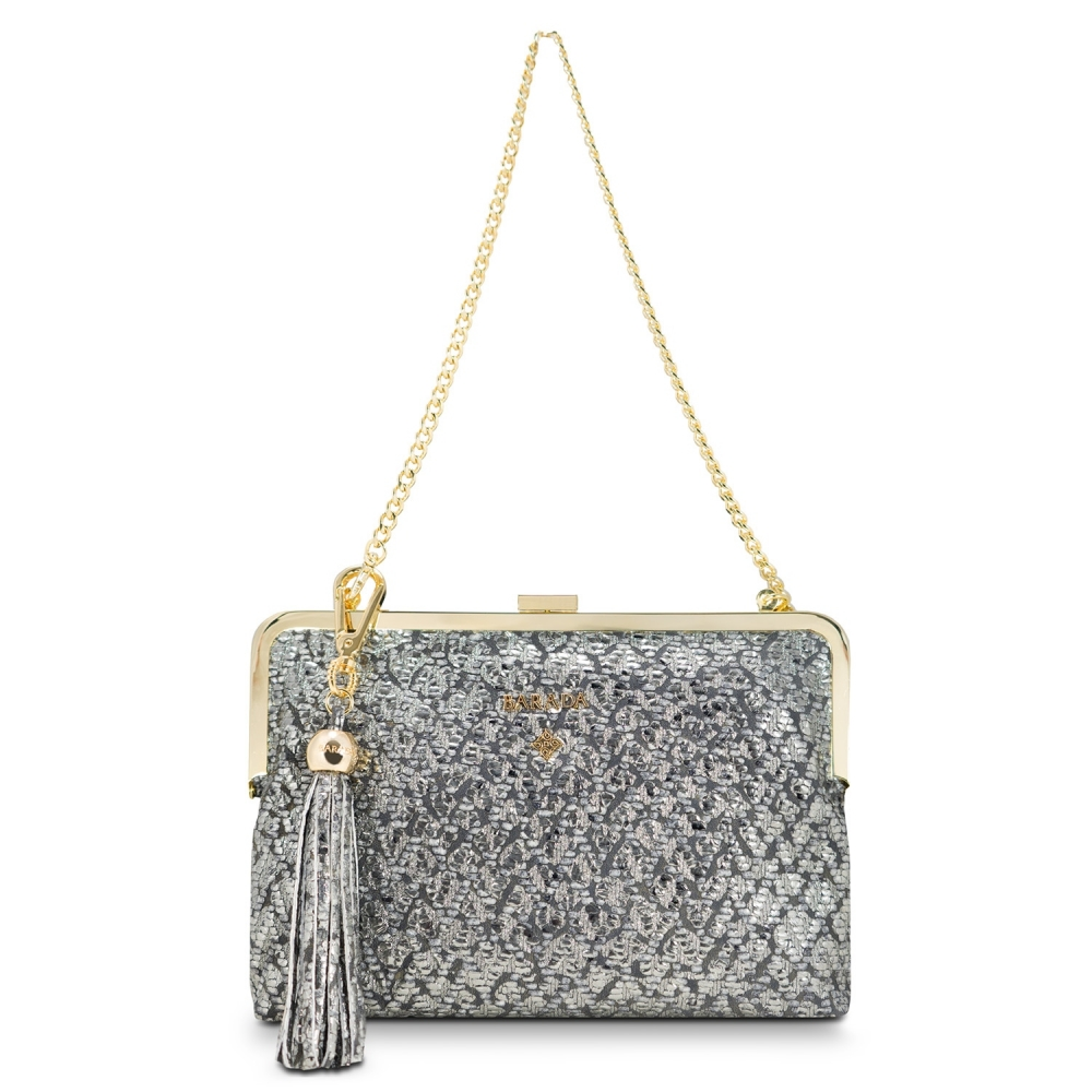 Clutch Handbag from our Dama Blanca collection in Lamb Skin (fantasy engraved) and Plata color