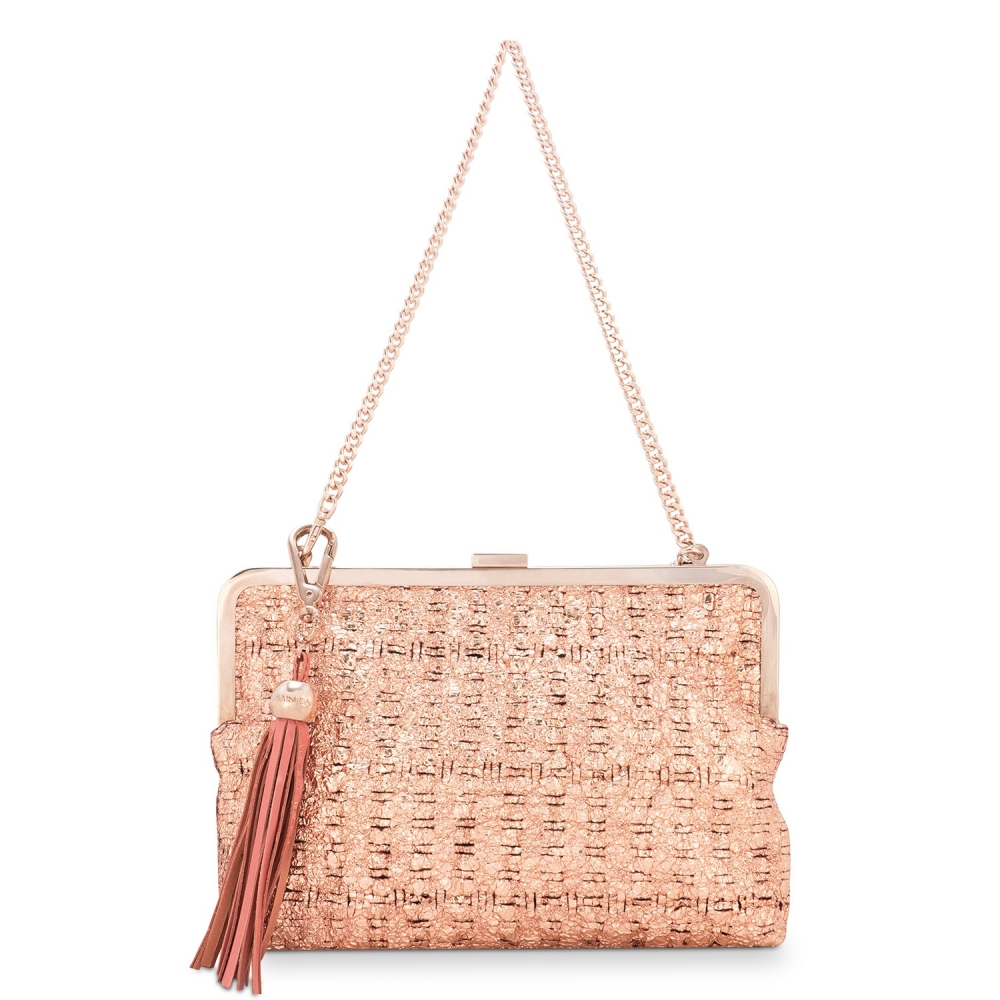 Clutch Handbag from our Dama Blanca collection in Lamb Skin (fantasy engraved) and Cooper color