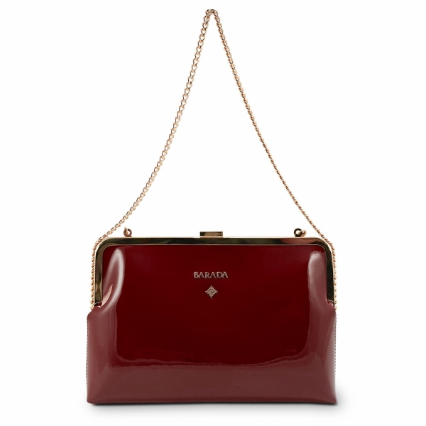 Clutch Handbag from our Dama Blanca collection in Patent Calf Leather and Red color