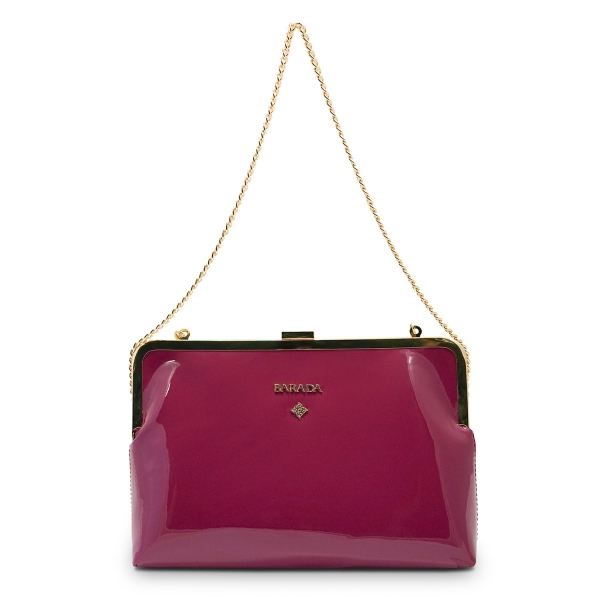 Clutch Handbag from our Dama Blanca collection in Patent Calf Leather and Viola color