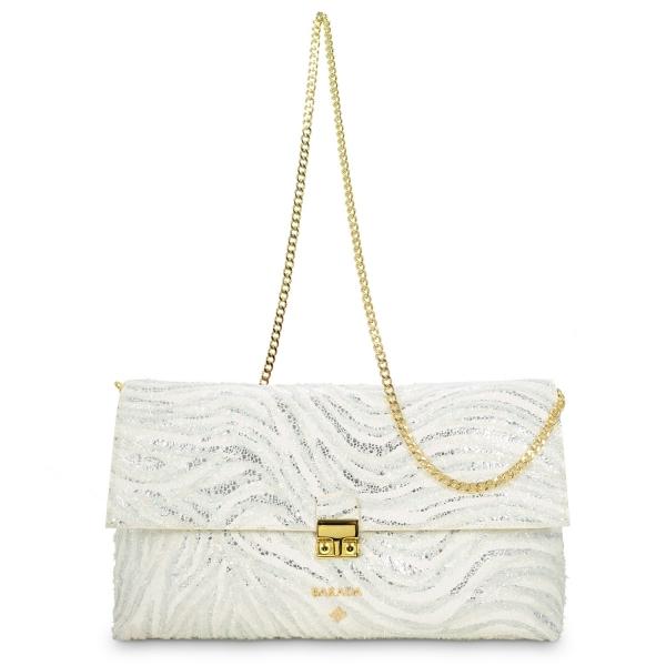 Bolso Clutch de la colección Dama Blanca en Piel Cordero y color Blanco