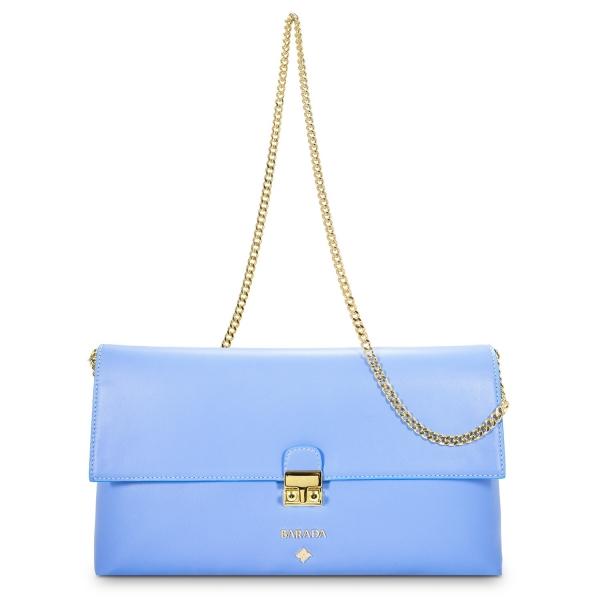 Bolso Clutch de la colección Dama Blanca en Napa y color Azul. Versión sin Borla de adorno.