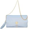 Bolso Clutch de la colección Dama Blanca en Napa y color Celeste
