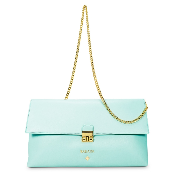 Bolso Clutch de la colección Dama Blanca en Napa y color Verde Agua