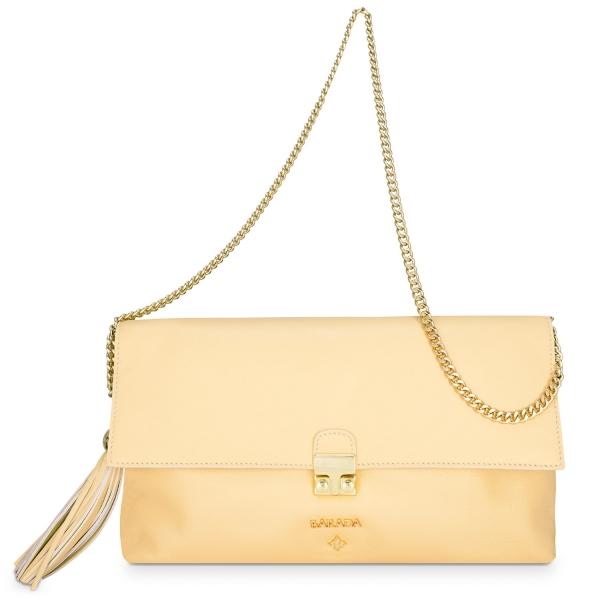Bolso Clutch de la colección Dama Blanca en Napa y color Oro