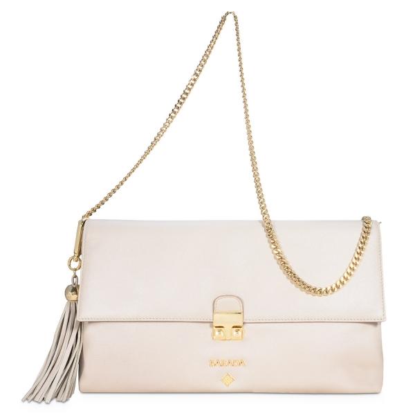 Bolso Clutch de la colección Dama Blanca en Napa y color Natural Plata