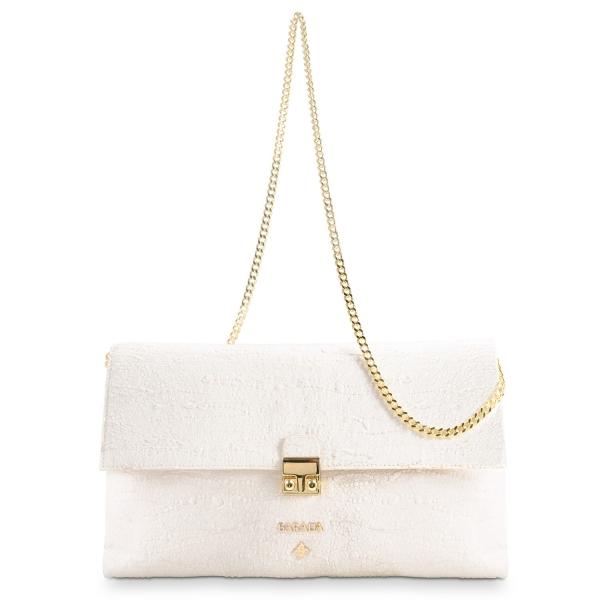 Bolso Clutch de la colección Dama Blanca en Piel Cordero y color Beige