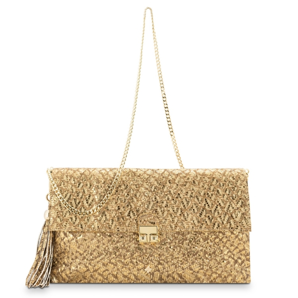 Clutch Handbag from our Dama Blanca collection in Lamb Skin (fantasy engraved) and Golden color. Without leather tassel.