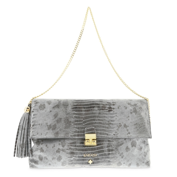 Clutch Handbag from our Dama Blanca collection in Calf (Tejus print) and Grey color