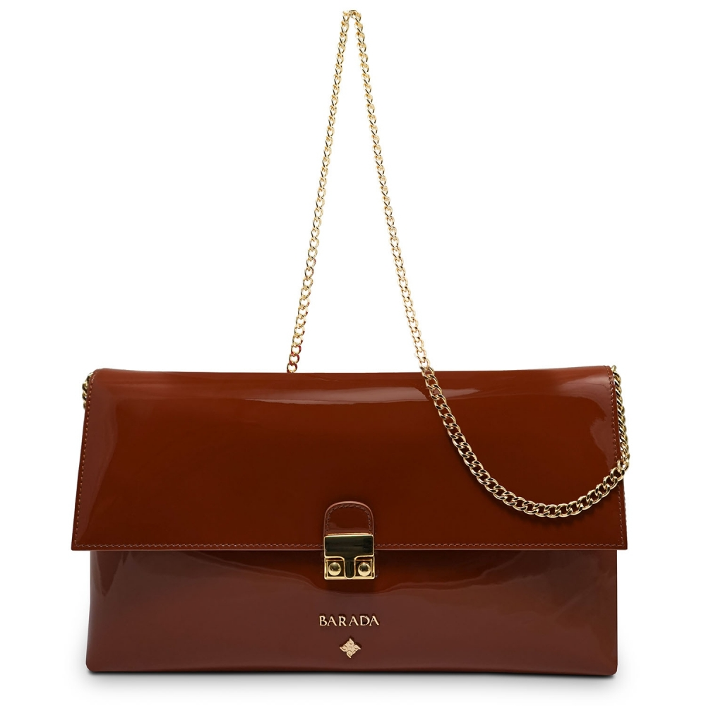 Clutch Handbag from our Dama Blanca collection in Patent Calf Leather and Tan color