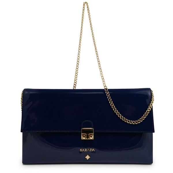 Clutch Handbag from our Dama Blanca collection in Patent Calf Leather and Blue color. Without leather tassel.